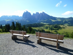 Alpe di Siusi View with benches