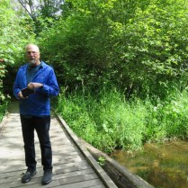 My travel partner on one of the many boardwalks. Although the trail passes through wetland, no need to get your feet wet.